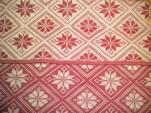 """Red and White Dräll (as opposed to """"damask""""), front and back"""