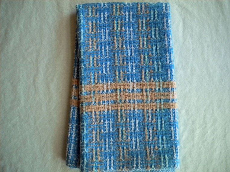 Bronson Lace Towel in Blues and Adobe