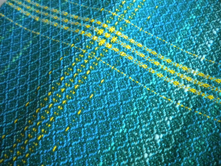 Point Twill Towel in Greens and Blues