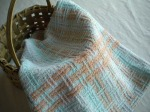 Bronson Lace Towel in Ice Blue and Tan