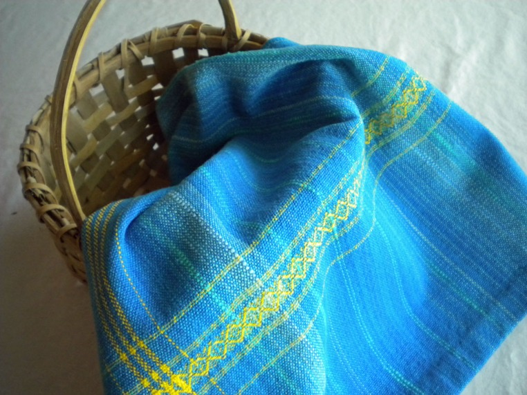 Cotton Towel in Turquoise and Gold
