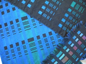 Double weave sample (lower right) and resulting runner