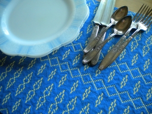 Doubleweave Placemat in Blue and Yellow