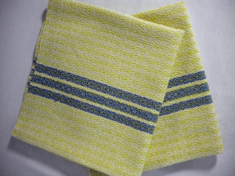 Lemon and Royal Blue Cotton Napkins