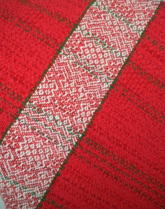 "Red Cotton Towel woven ""as drawn in."""