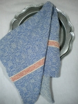 Cotton and Linen Kitchen Towel in Blue and Natural
