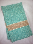Cotton and Linen Kitchen Towel in Turquoise and Tan
