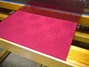 Red Damask on the loom
