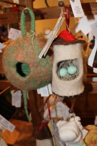 Felted Bird House Ornaments