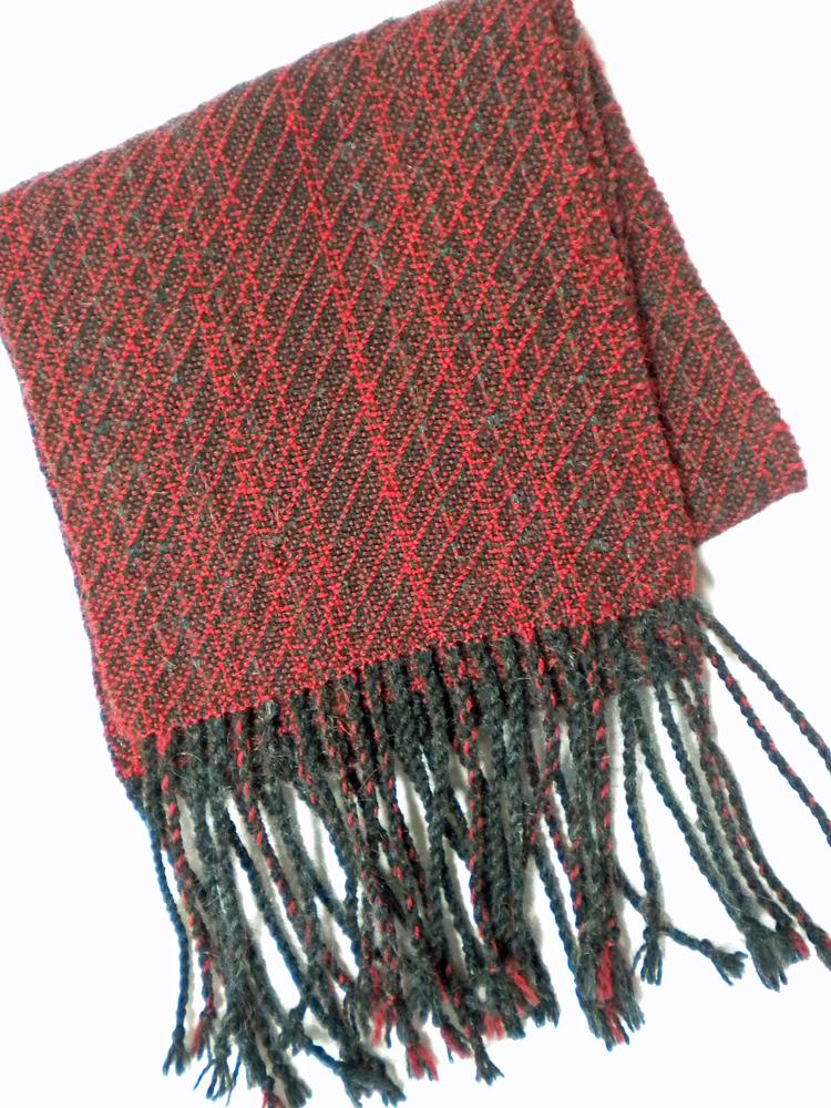 Black and Burgundy Wool Scarf