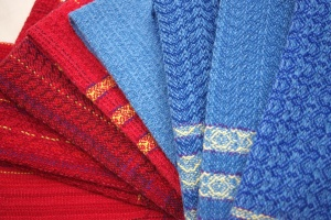 Blue and Red Towels off the loom